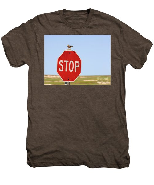 Western Meadowlark Singing On Top Of A Stop Sign Men's Premium T-Shirt by Louise Heusinkveld