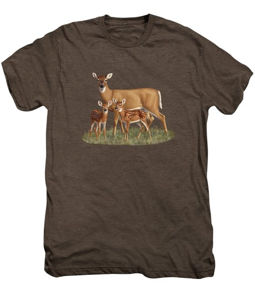 Whitetail Doe And Fawns - Mom's Little Spring Blossoms Men's Premium T-Shirt by Crista Forest