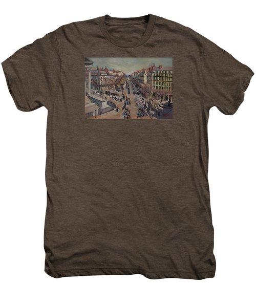 Winter At The Boulevard De La Madeleine, Paris Men's Premium T-Shirt