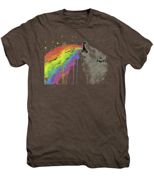 Wolf And Rainbow  Men's Premium T-Shirt