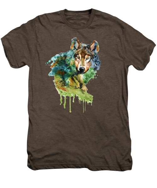 Wolf Face Watercolor Men's Premium T-Shirt