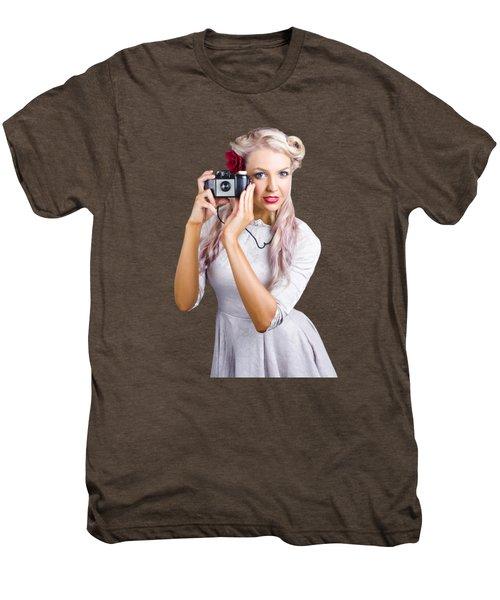 Woman Using Retro Film Camera Men's Premium T-Shirt