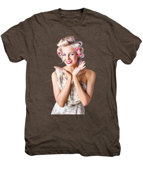 Woman With Rollers In Hair Men's Premium T-Shirt