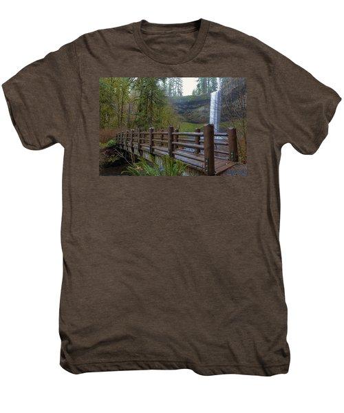 Wood Bridge At Silver Falls State Park Men's Premium T-Shirt