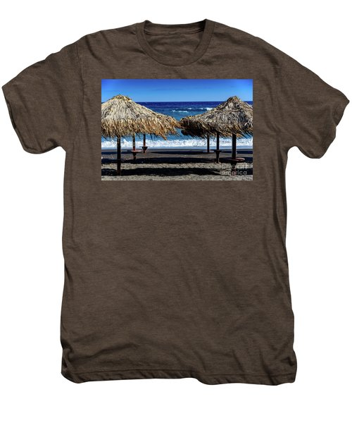 Wood Thatch Umbrellas On Black Sand Beach, Perissa Beach, In Santorini, Greece Men's Premium T-Shirt