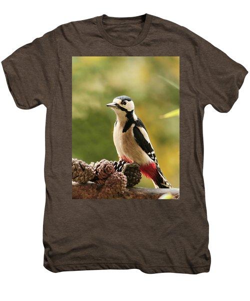 Woodpecker In Winter Men's Premium T-Shirt by Heike Hultsch