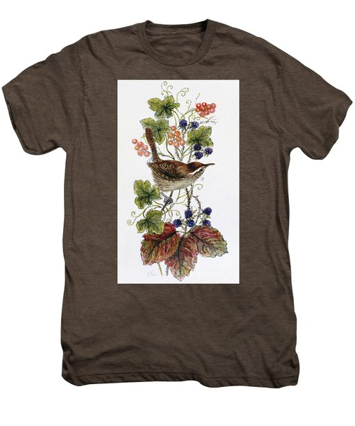 Wren On A Spray Of Berries Men's Premium T-Shirt by Nell Hill
