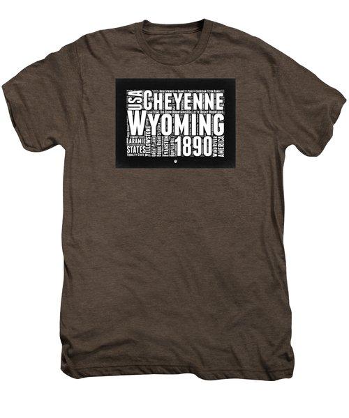 Wyoming Black And White Word Cloud Map Men's Premium T-Shirt