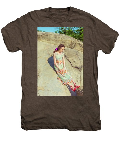 Young American Woman Summer Fashion In New York Men's Premium T-Shirt