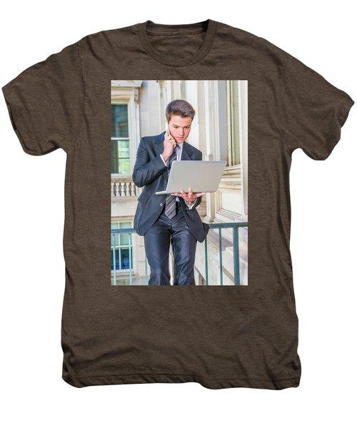 Young School Boy Working Remotely 15042510 Men's Premium T-Shirt