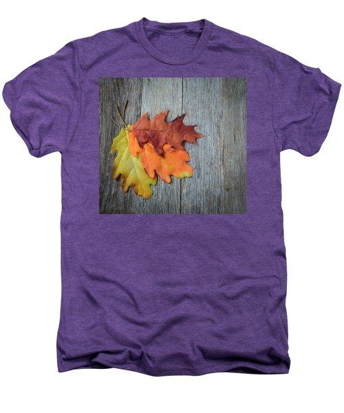 Autumn Leaves On Rustic Wooden Background Men's Premium T-Shirt