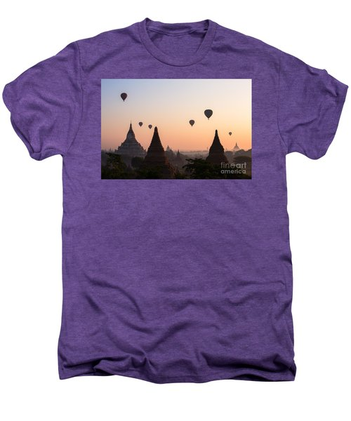 Ballons Over The Temples Of Bagan At Sunrise - Myanmar Men's Premium T-Shirt