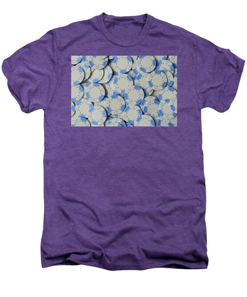 Blue Poker Chip Background Men's Premium T-Shirt