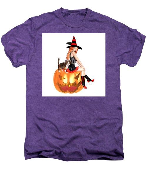 Halloween Witch Nicki With Kitten Men's Premium T-Shirt