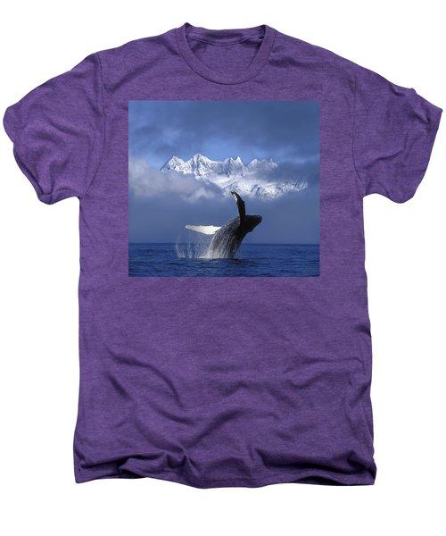 Humpback Whale Breaches In Clearing Fog Men's Premium T-Shirt