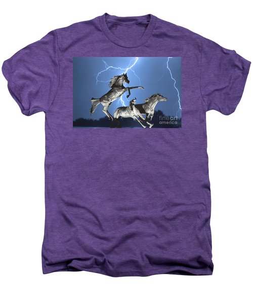 Lightning At Horse World Bw Color Print Men's Premium T-Shirt by James BO  Insogna