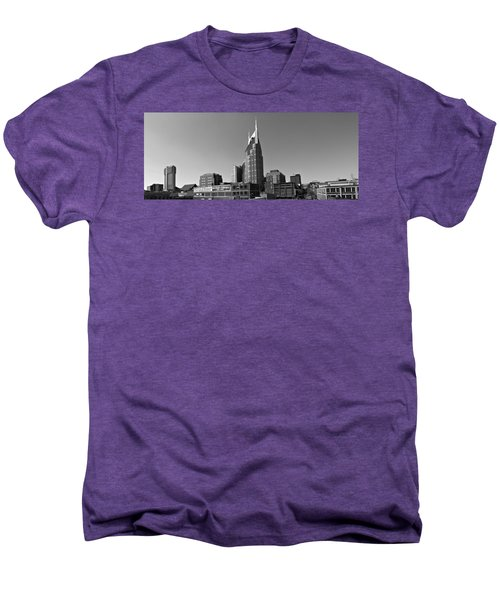 Nashville Tennessee Skyline Black And White Men's Premium T-Shirt by Dan Sproul