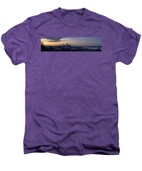 Wide Seattle Morning Skyline Men's Premium T-Shirt by Mike Reid