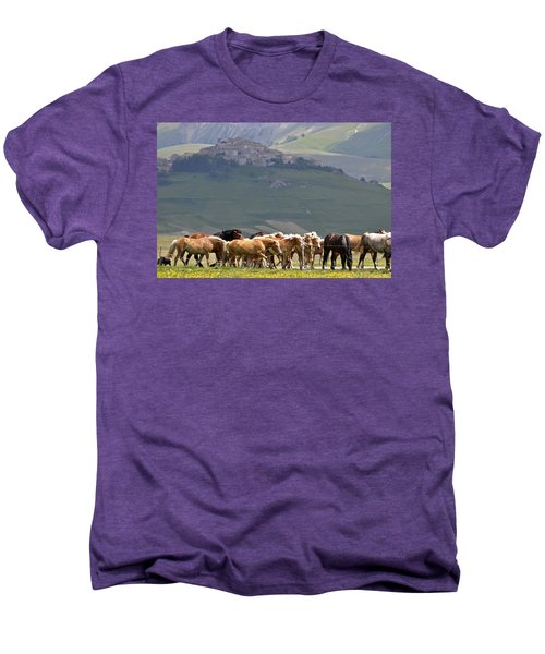 Men's Premium T-Shirt featuring the photograph Castelluccio Di Norcia, Parko Nazionale Dei Monti Sibillini, Italy by Dubi Roman