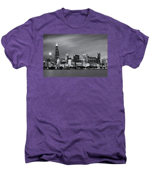 Men's Premium T-Shirt featuring the photograph Chicago Skyline At Night Black And White  by Adam Romanowicz
