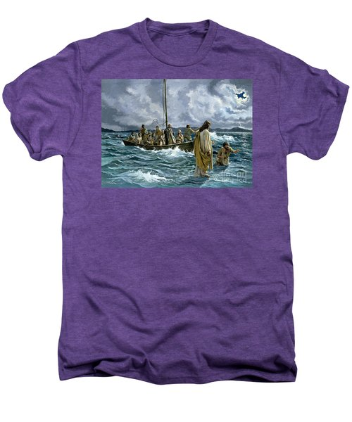 Christ Walking On The Sea Of Galilee Men's Premium T-Shirt