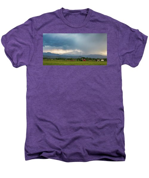 Men's Premium T-Shirt featuring the photograph Colorado Rocky Mountain Red Barn Country Storm by James BO Insogna