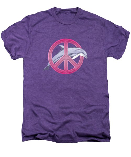 Dolphin Peace Pink Men's Premium T-Shirt by Chris MacDonald
