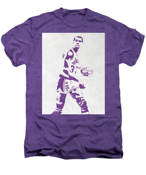 Magic Johnson Los Angeles Lakers Pixel Art Men's Premium T-Shirt by Joe Hamilton