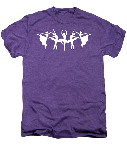 Passionate Dance Ballerinas Silhouettes In White Men's Premium T-Shirt