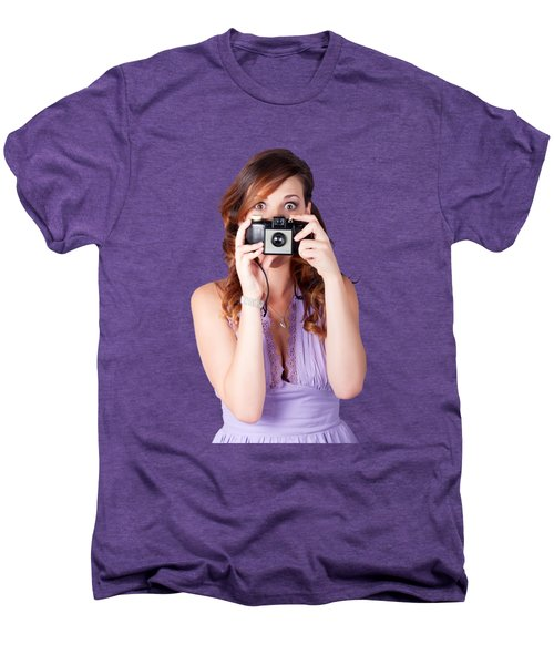 Surprised Woman Taking Picture With Old Camera Men's Premium T-Shirt by Jorgo Photography - Wall Art Gallery