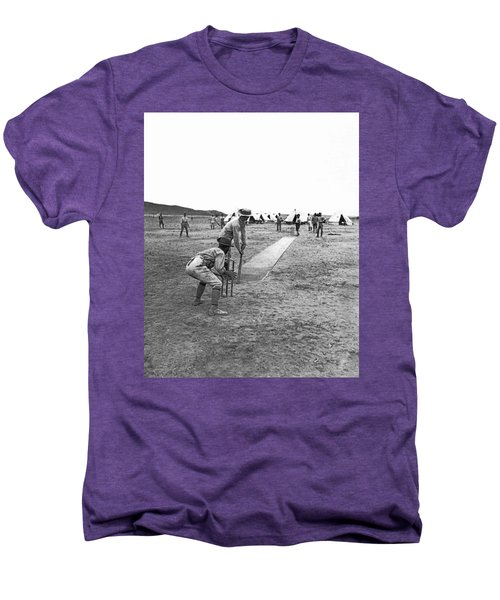 Troops Playing Cricket Men's Premium T-Shirt by Underwood Archives