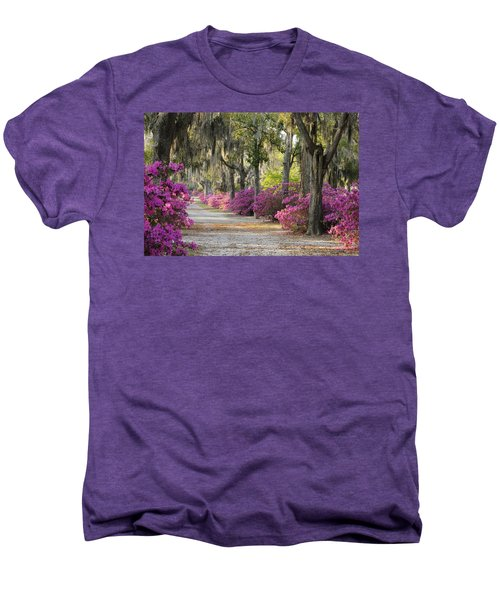 Unpaved Road With Azaleas And Oaks Men's Premium T-Shirt