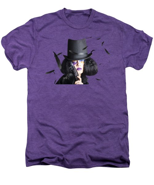 Vogue Woman In Black Costume Men's Premium T-Shirt by Jorgo Photography - Wall Art Gallery