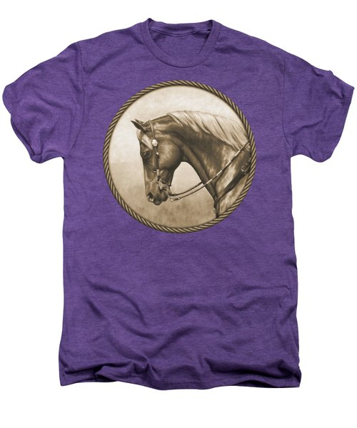 Western Pleasure Quarter Horse In Sepia Men's Premium T-Shirt