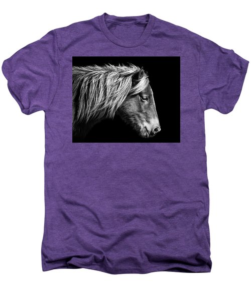 Men's Premium T-Shirt featuring the photograph Assateague Pony Sarah's Sweet Tea B And W by Bill Swartwout Fine Art Photography