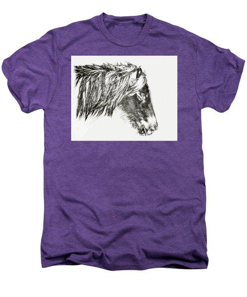 Men's Premium T-Shirt featuring the photograph Assateague Pony Sarah's Sweet Tea Sketch by Bill Swartwout Fine Art Photography