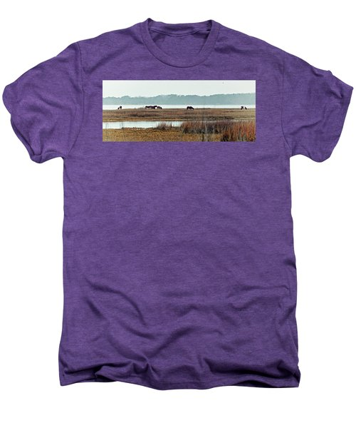 Men's Premium T-Shirt featuring the photograph Band Of Wild Horses At Sinepuxent Bay by Bill Swartwout Fine Art Photography