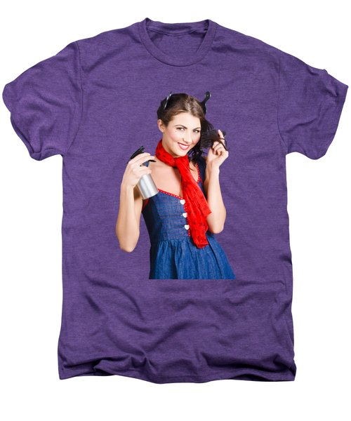 Cute Girl Model Styling A Hairdo. Pinup Your Hair Men's Premium T-Shirt