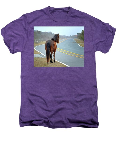 Men's Premium T-Shirt featuring the photograph Delegate's Pride Awaiting Tourists On Assateague Island by Bill Swartwout Fine Art Photography