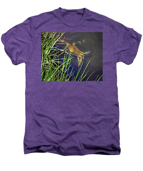 Men's Premium T-Shirt featuring the photograph Maryland Blue Crab Lurking In An Assateague Marsh by Bill Swartwout Fine Art Photography