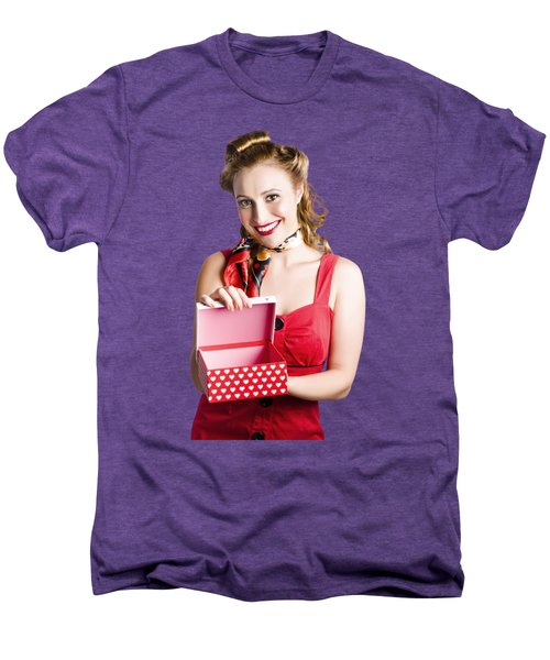 Woman Holding Gift Box Men's Premium T-Shirt