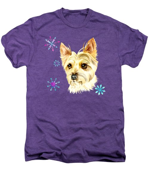 Yorkie Dog And Snowflakes Men's Premium T-Shirt