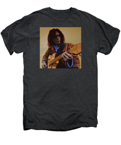 Neil Young Painting Men's Premium T-Shirt by Paul Meijering