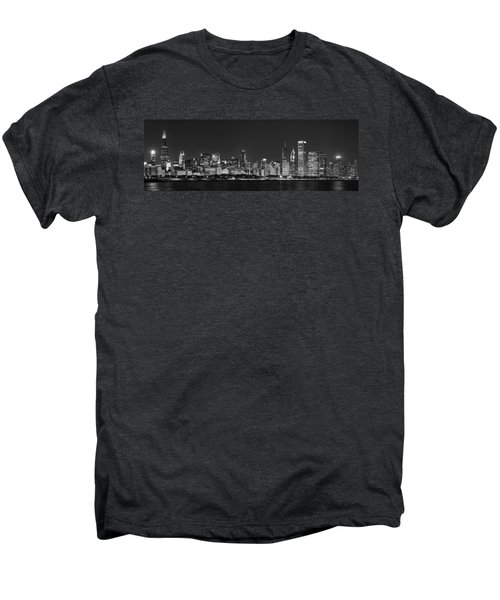 Chicago Skyline At Night Black And White Panoramic Men's Premium T-Shirt by Adam Romanowicz