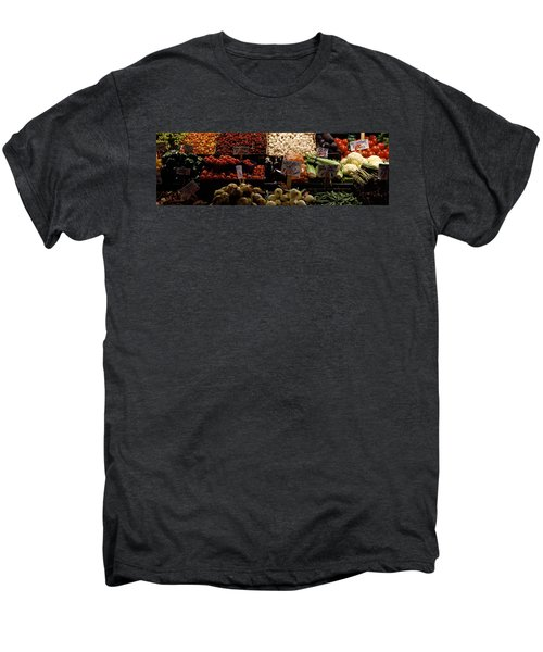 Fruits And Vegetables At A Market Men's Premium T-Shirt by Panoramic Images