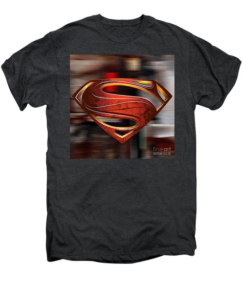 Men's Premium T-Shirt featuring the mixed media Man Of Steel Superman by Marvin Blaine