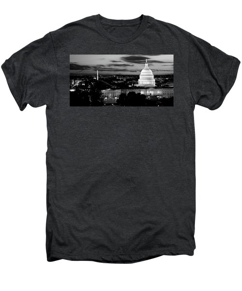 High Angle View Of A City Lit Men's Premium T-Shirt by Panoramic Images