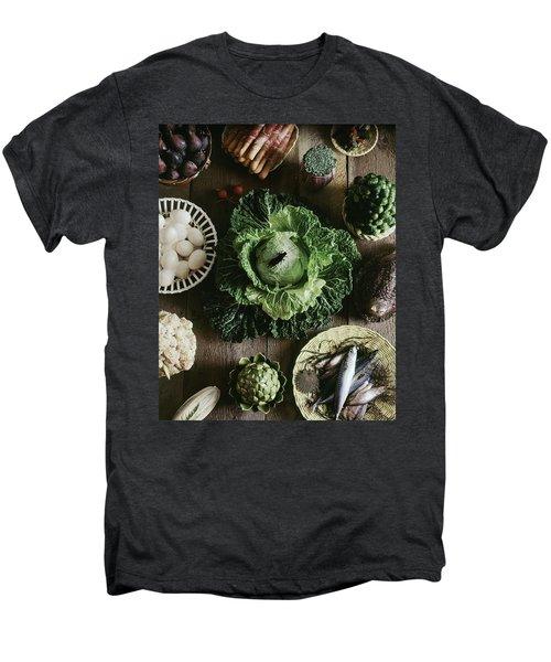 A Mixed Variety Of Food And Ceramic Imitations Men's Premium T-Shirt by Fotiades
