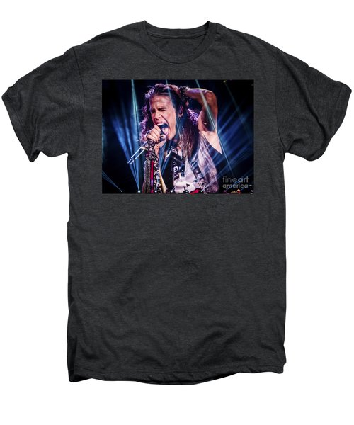 Aerosmith Steven Tyler Singing In Concert Men's Premium T-Shirt by Jani Bryson