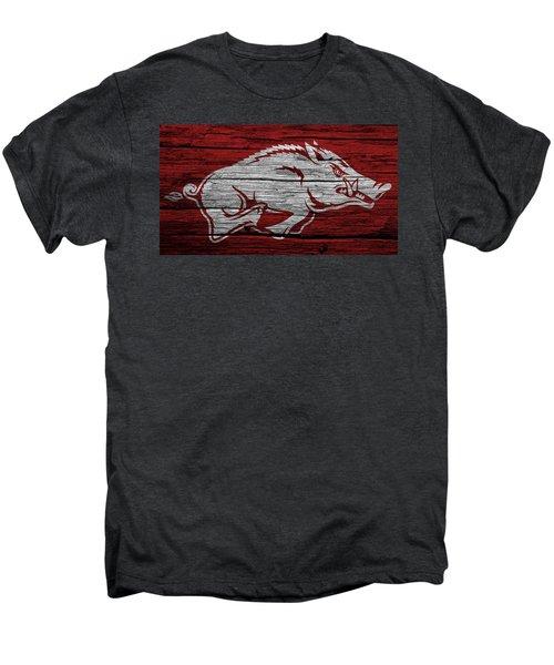 Arkansas Razorbacks On Wood Men's Premium T-Shirt by Dan Sproul